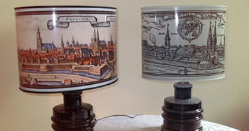 Lamp with antique print of Wroclaw/Breslau/Wratislavia